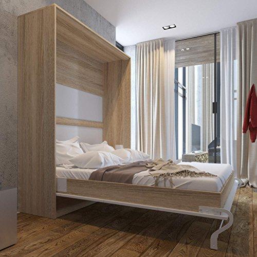 Schrankbett Smartbett Murphy Bed Vertikal 90x200cm Gästebett Weiß - 2