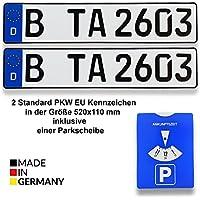 TA TradeArea 2 Standard PKW EU Kennzeichen in der Größe 520x110 mm Inklusive Einer Parkscheibe
