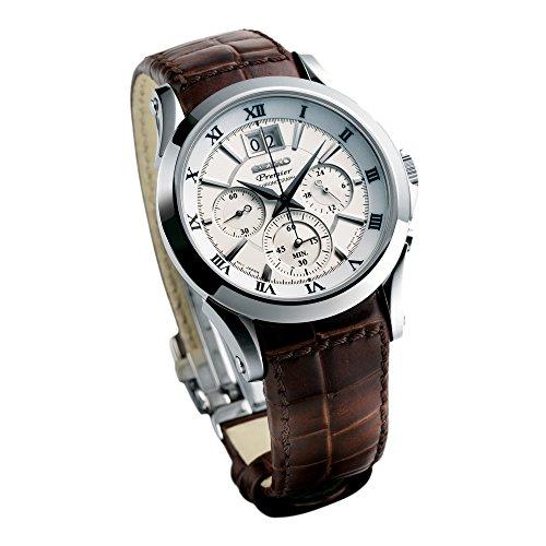 Seiko Herren-Armbanduhr Chronograph Leder SPC059P1