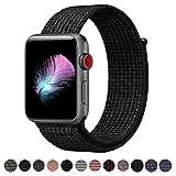 HILIMNY Für Apple Watch Armband 42MM, Ersatz für iwatch Armband Series 3, Series 2, Series 1 (Schwarz/Pure Platinum, 42MM)