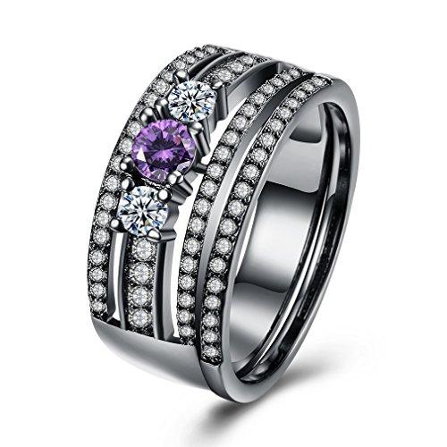 Yazilind 18K schwarzes Gold überzogener moderner Artcharme Zirkon Ewigkeit Band Abschlussball Hochzeits populäre Ringe größe 18.8