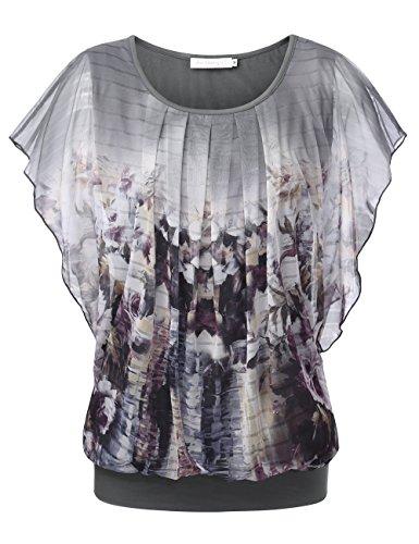 BaiShengGT Damen Falten Kurzarm Tunika Batwing Rundkragen Bluse Grau-Blumen #2 Medium
