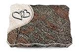 MEMORUM Grabmale Grabplatte, Grabstein, Grabkissen, Urnengrabstein, Liegegrabstein Modell Folio 40 x 30 x 5 cm Paradiso-Granit, Poliert inkl. Gravur (Aluminium-Ornament Herzen)
