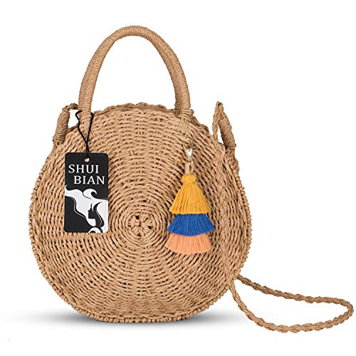 098e4ac416351 SHUIBIAN Runde Stroh Strandtasche Sommer Vintage Handarbeit Umhängetasche  Kreis Rattan Tasche böhmische Umhängetasche für Frauen