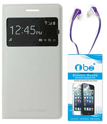 TBZ S-View Flip Cover Case for Samsung Galaxy Grand 2 with Earphone and Tempered Screen Guard -White  available at amazon for Rs.529