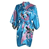 Elite99 Women's Sexy Robes Peacock and Blossoms Kimono Satin Nightwear Mini Dress (L, Lake blue)