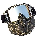Easy Go Shopping Motorradbrillen mit Abnehmbarer Maske Airsoft Schutzbrillen Maske Winddicht wasserdicht Motorrad Ridding Glasses