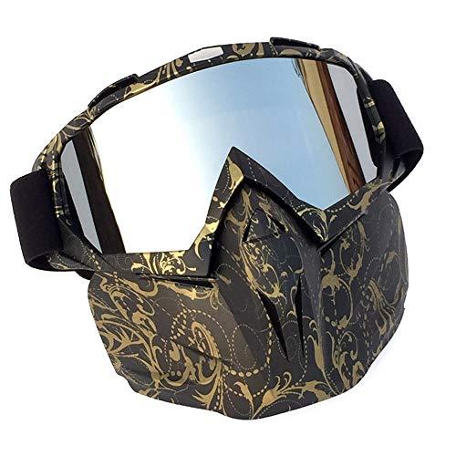 MXLTiandao Motorradbrillen mit Abnehmbarer Maske Airsoft Schutzbrillen Maske Winddicht wasserdicht Motorrad Ridding Glasses (Color : Camouflag, Size : One Size) (Ski-helme Brennen)