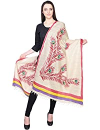 Mor Pankh Pink And Purple Printed Khadi Silk Dupatta
