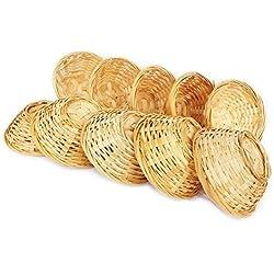 Lashuma 10er Set Bambuskörbchen, geflochtener Dekokorb, rund ca. 10 x 4 cm