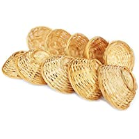 Juego bambú cestitas, cesta redonda trenzada decoración, aprox. 15x 5cm, a elegir 5o 10unidades, madera, beige, 10 er Set