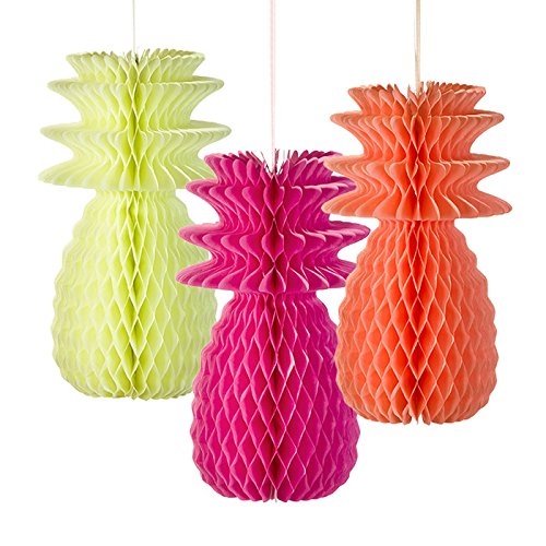 ent Decorations; Ananasdekoration zum Aufhängen für Grillfeste, Luau (Hawaiparty) oder Sommerpartys, Bunt (3 pro Pack) ()