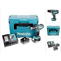 Makita DHP482RTJ Perceuse visseuse à percussion + 2 batteries 18V 5Ah Li-ion + coffret Makpac, Bleu