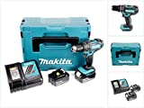 Makita DHP482RTJ Perceuse visseuse à percussion + 2 batteries 18V 5Ah Li-ion + coffret Makpac Bleu