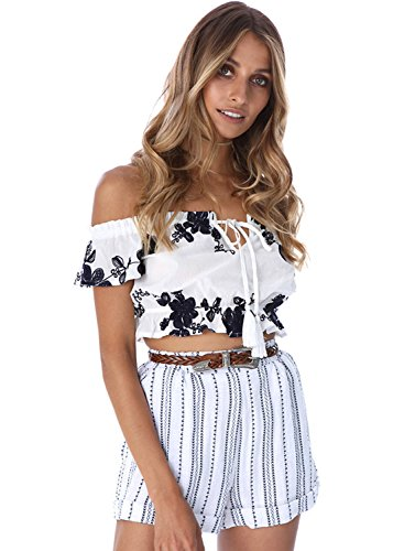 Azbro Women's off Shoulder Short Sleeve Floral Printed Crop Top white