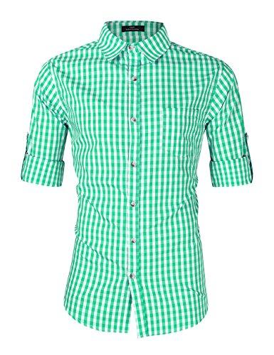 Kuulee camicia uomo,tradizionale bavarese camicia quadri slim fit casual cotone multicolore