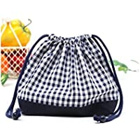 Drawstring Gokigen lunch (medium size) gusset lunch bag check large, dark blue, dark blue x Ox made in Japan N3412600 (japan import) preisvergleich bei kinderzimmerdekopreise.eu