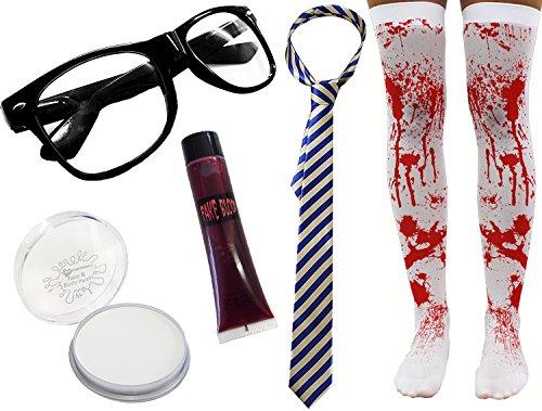 damen-zombie Schulmädchen Halloween Kostüm Horror Geek Satz 5 Stück unheimlich Nerd blutig Strümpfe UK 8-12 - blau & Beige Krawatte, UK 8-12