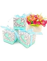 JZK 50 Azzurre blu cuore scatola portaconfetti scatolina bomboniera segnaposto portariso per matrimonio compleanno battesimo Natale nascita laurea comunione