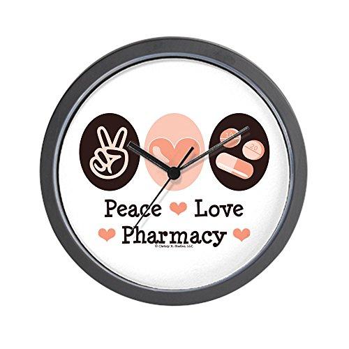 CafePress - Peace Love Apotheker - Einzigartige dekorative Wanduhr 25,4 cm -