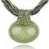 Signore-Signori® Collana a Stringa multiple di Perline multicolori con Pendente Antico Verde, Fatta a Mano