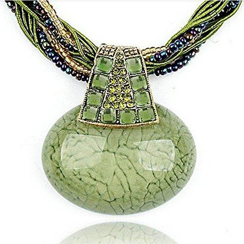 Signore-Signori Retro Grün Ovale Aussage-Halskette Handgemachte Mode Schmuck Weihnachten Geschenk
