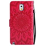 For Samsung Galaxy Note 3 Case [Red],Cozy Hut [Wallet Case] Magnetic Flip Book Style Cover Case ,High Quality Classic New design Sunflower Pattern Design Premium PU Leather Folding Wallet Case With [Lanyard Strap] and [Credit Card Slots] Stand Function Folio Protective Holder Perfect Fit For Samsung Galaxy Note 3 /SM-N9000 5,7 inch - red