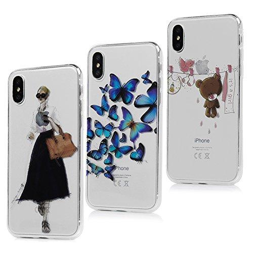 Lanveni Handyhülle für iPhone X Hülle×3 Etui Protective Case Cover TPU Silikon Schutzhülle Bumper Handytasche Dynamisch Fließen Bling Glitzer Treibsand Cover mit Bunte Muster Design (Farbe 1) Farbe 2
