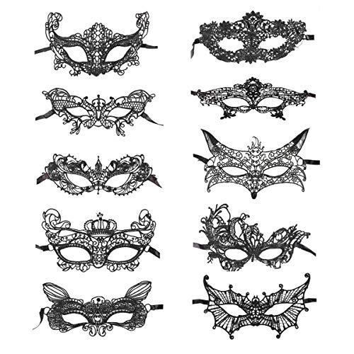 he Maske 10er Set Damen Herren - perfekt für Fasching, Karneval & Maskenball - Kostüm für Erwachsene - Unisex Einheitsgröße ()