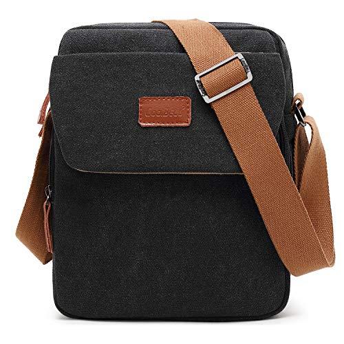 CoolBELL 10,6 Zoll Umhängetasche Canvas Messenger Bag Mini Brusttasche iPad Tragebeutel Tablet Schultertasche für iPad/Männer/Frauen/College/Teen (Canvas Schwarz) - Tablet Zoll 10 Ipod