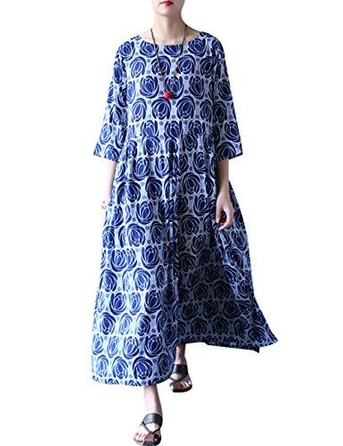 Youlee Damen Rose bedruckt Großes Hem Kleid Blau