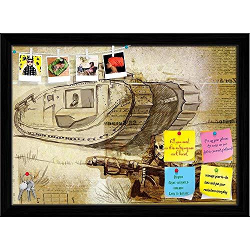 Artzfolio Battle Printed Bulletin Board Notice Pin Board   Black Frame 16.6 X 12Inch (Battle Board)