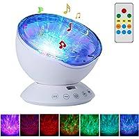 Proyector de la luz de la noche del control remoto - SurLight 7 Modos de iluminación Rotación de la lámpara del proyector de la onda del océano con el mini jugador de música incorporado Ranura para tarjeta del TF para el bebé Niños Niños