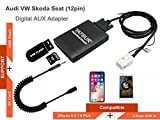 VW Audi Skoda Seat iPhone Stereo Aux Adapter, KFZ Digital Audio-Eingang Interface mit SD-Karte, iPod MP3 USB, 3,5 mm AUX IN, Lighnting Musik Player für 12pol VW Quadlock 2006-2010 Audi 2002-2011 (M06-VW12)