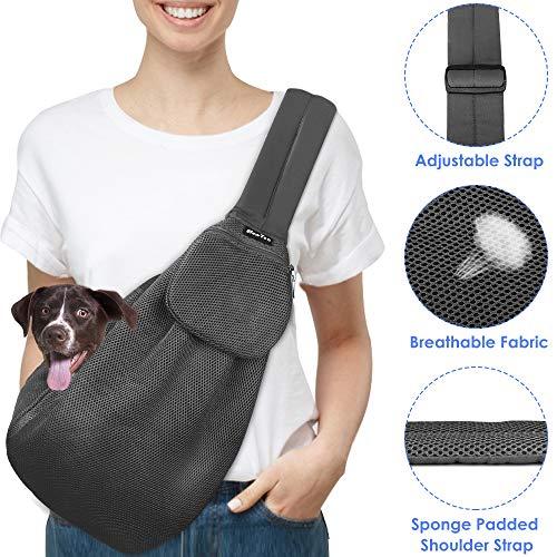 Slowton Haustier-Tragetasche, Handfrei, verstellbar, gepolsterter Tragegurt, atmungsaktiv, Baumwolle, Schultertasche, Vordertasche, Sicherheitsgurt, für kleine Hunde, Katzen, Welpen, maschinenwaschbar -