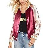 Damen Jacken, L'ananas BF Stil Seide und Satin Farbblockierung Baseball-Uniform Outwear Bomberjacke Women Bomber Jacket (CN-XL/EU-40, Rot)