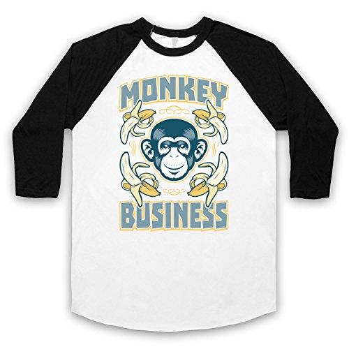 Monkey Business Funny 3/4 Hulse Retro Baseball T-Shirt Weis & Schwarz