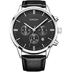 SONGDU Men's Big Face Multi-function Chronograph Quartz Watch With Black Pin Buckle Leather Strap and Black Dial Plate DM-9201-P01EYB--Ideal and Celebrative Gift for Christmas and New Year Sales