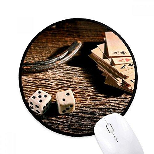Würfel Poker Glücksspiel Foto Rund Rutschfeste Mousepads Schwarz Genähte Kanten Spiel Büro Geschenk (Würfel-glücksspiel)