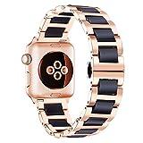 BINLUN Herren Edelstahl und Keramik Uhrenarmbänder Kompatibel für Apple 38mm / 42mm Smartwatch Series 3,2,1,Sport Edition (Rosa-schwarz) BL0002B-ARB38