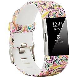 Fit-power Bracelet de rechange sport souple et réglable pour Fitbit Charge2 S Motif F
