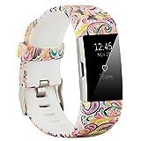 Fit-power Armbänder für Fitbit Charge 2, weich, verstellbar, für Sport und Freizeit, 2 Größen S Pattern F