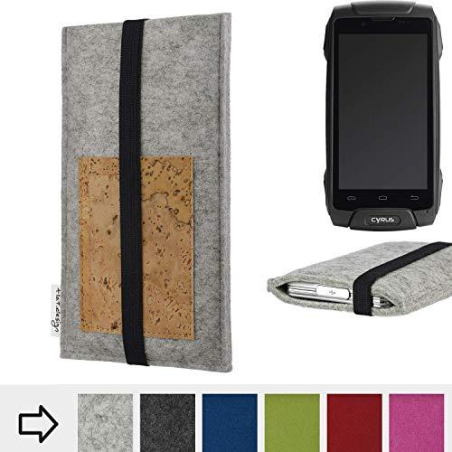 flat.design für Cyrus CS 30 Handyhülle Case Sintra mit Kartenfach (Natur) und Gummiband-Verschluss (schwarz) - passgenaue Smartphone Tasche Schutz Hülle aus 100% Wollfilz (hellgrau) für Cyrus CS 30