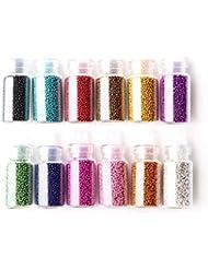 12 x Nail Art Mini Flaschen Glas Maniküre Perlen Kugeln Deko Zufällige Farbe