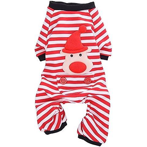 Perro de mascota abrigo de pijama de rayas pijamas mascota chaqueta para mascotas ropa de algodón de franela con Capucha del mono Cazadoras de perrito del gato del Perro de animal doméstico del invierno S / M / L / XL Rojo
