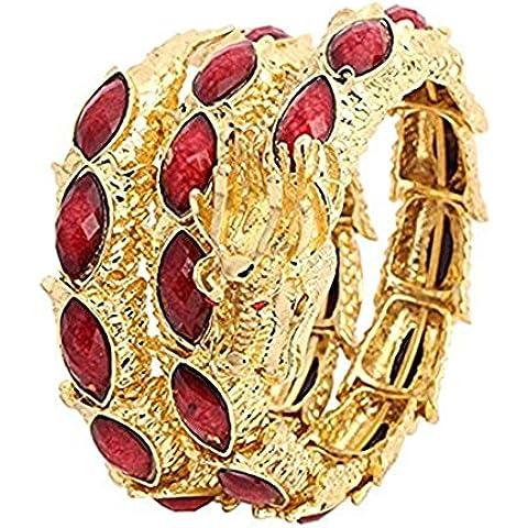 SCLM-Braccialetto placcato in oro con cristalli, a forma di drago cinese