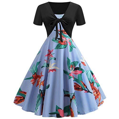 WINLISTING Kindertag Damen Vintage Print Kurzarm Kleid Sling Pullover Zweiteilige Set Kleider (Blau, L) - Glam-abend-kleid