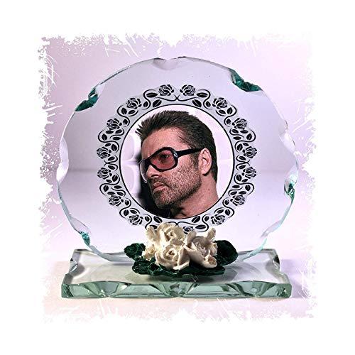 GEORGE MICHAEL Foto Schnitt Glas rund Rahmen Plaque besonderen Anlass Limited Edition