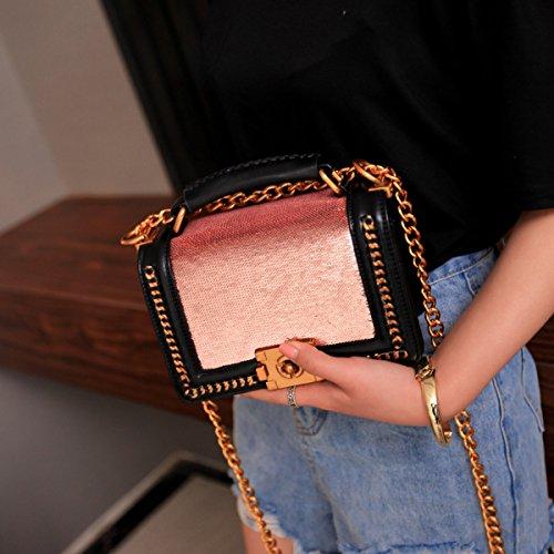 Damen Handtasche Lingge Kette Tasche Schulter Skew Rosa