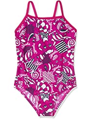 Speedo Girls 'mareas Idol Essential Frill – Bañador infantil (1 pieza), niña, color Electric Pink/Navy/White, tamaño 6 Años